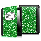 Fintie SmartShell Case for Kindle Voyage - [The Thinnest and Lightest] Protective PU Leather Cover with Auto Sleep/Wake for Amazon Kindle Voyage (2014), Composition Book Green