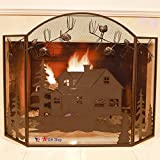 BestGiftEver Metal Foldable Fireplace Screen with House Cabin Lodge Pine Cone in Brown Metal Mesh Rustic Western Country Style