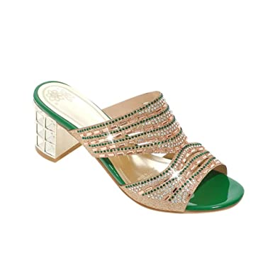 Damen Slingback Peep-Toe Chunky Heel Pantoletten mit Glitzer Strass Modern und Bequem Metall Blockabsatz Pantoletten (37 EU, Grün) MissSaSa