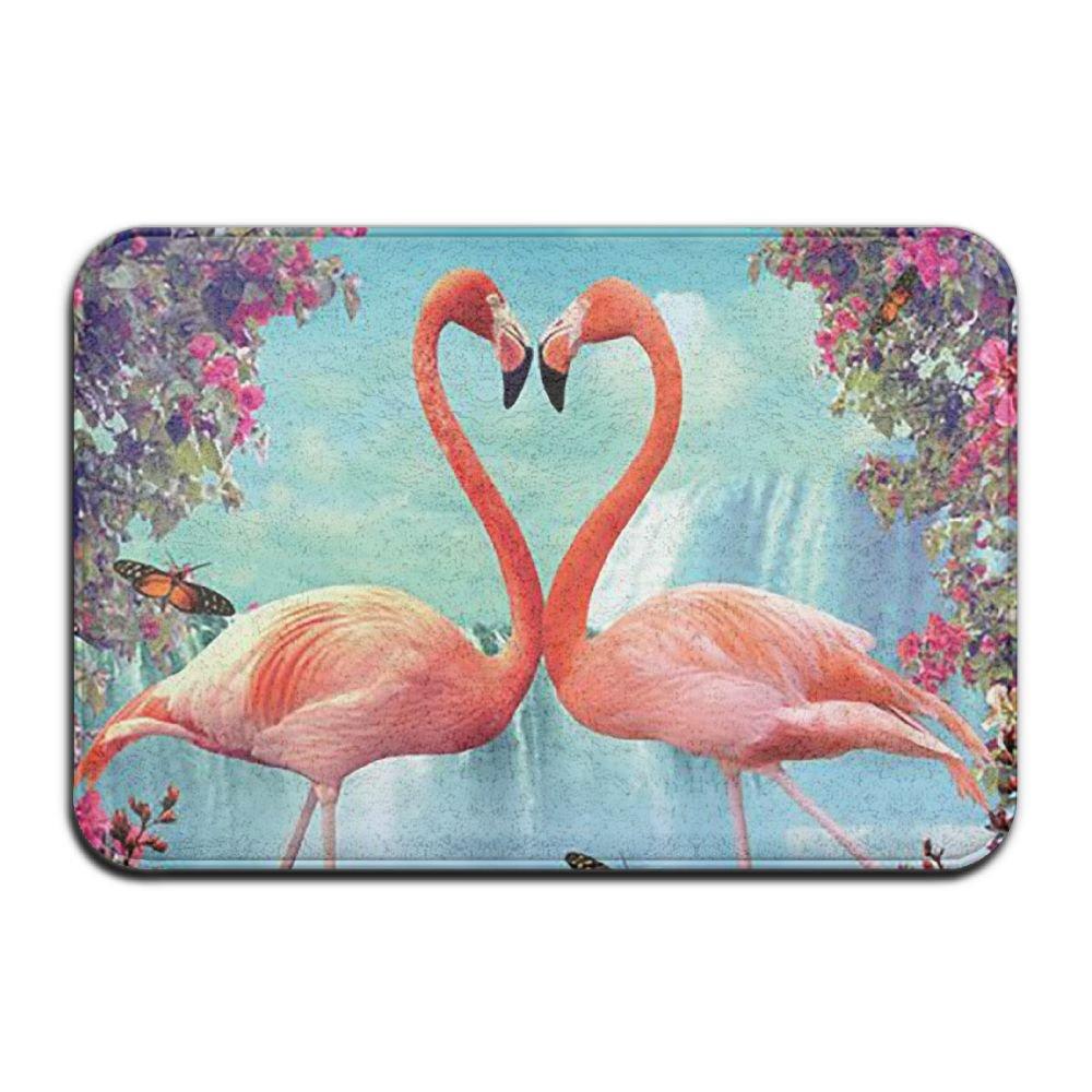 BINGO BAG Pink Flamingos Waterfall Indoor Outdoor Entrance Printed Rug Floor Mats Shoe Scraper Doormat For Bathroom, Kitchen, Balcony, Etc 16 X 24 Inch