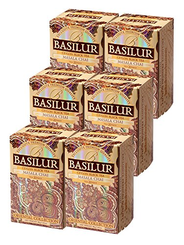 Basilur | Masala Chai Tea | Single Origin | 100% Pure Ceylon | All Natural Spices - Cardamom, Cloves, Cinnamon | Non GMO | Garden Fresh & Antioxidant Rich | 20 Count Foil Enveloped Teabags (Pack of 6)