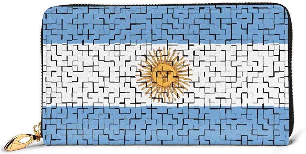 Jacque Dusk Billetera De Cuero Argentina Flag Puzzle Carteras para Hombres Mujeres Cartera De Cuero Larga Tarjetero Monedero Cremallera Hebilla Elegante Clutch Señoras Monedero