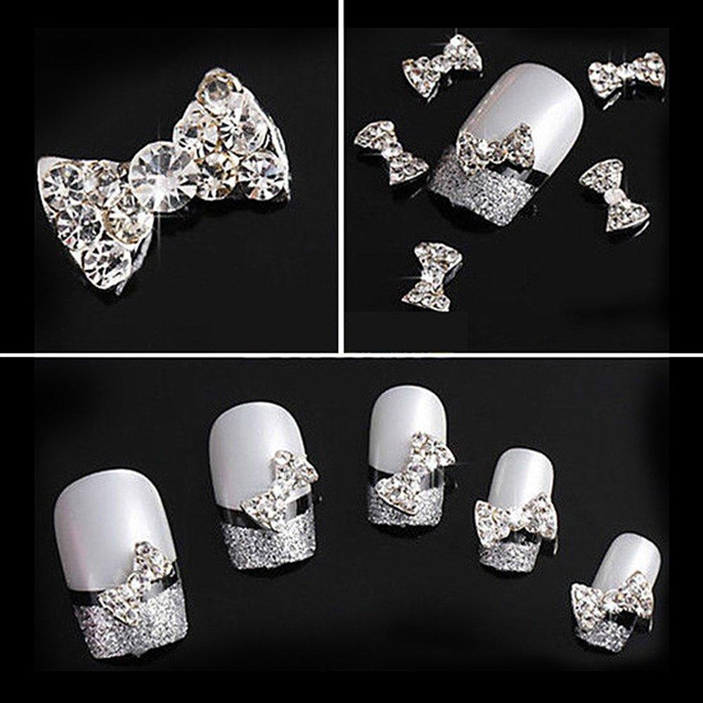 Joyeee 10 Stück 3D Strasssteine für Nägel - Weißer Diamant Schleife ...
