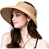 NobleScore Lullaby Women's UPF 50+ Packable Wide Brim Roll-Up Sun Visor Beach Straw Hat