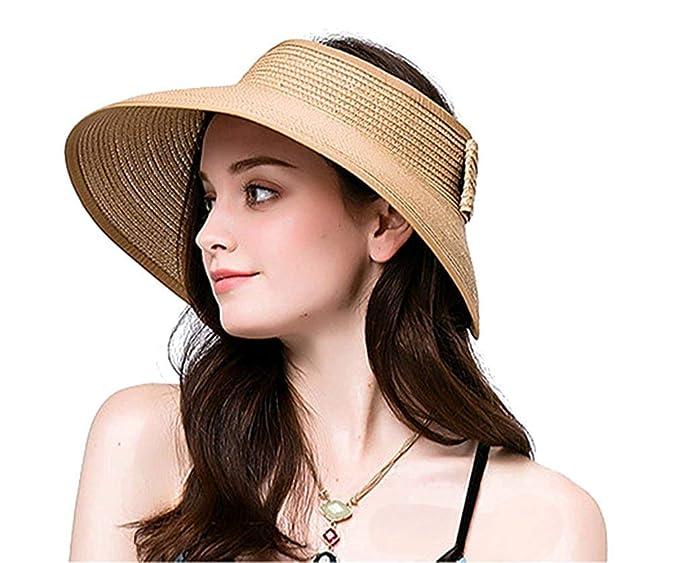3c5f90bbe Lullaby Women's UPF 50+ Packable Wide Brim Roll-Up Sun Visor Beach Straw Hat