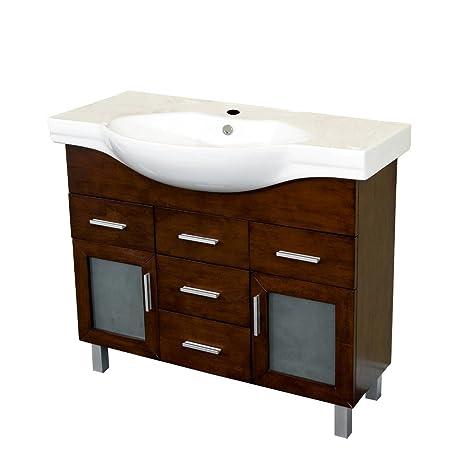 bellaterra home 203139b 398inch single sink vanity 2 doors wood