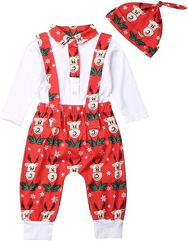 YCYU Baby Boys Girls Romper Christmas Outfits Long Sleeve Elk Printed Bodysuit Pants Hat 3Pcs for 0-18 Months Newborn