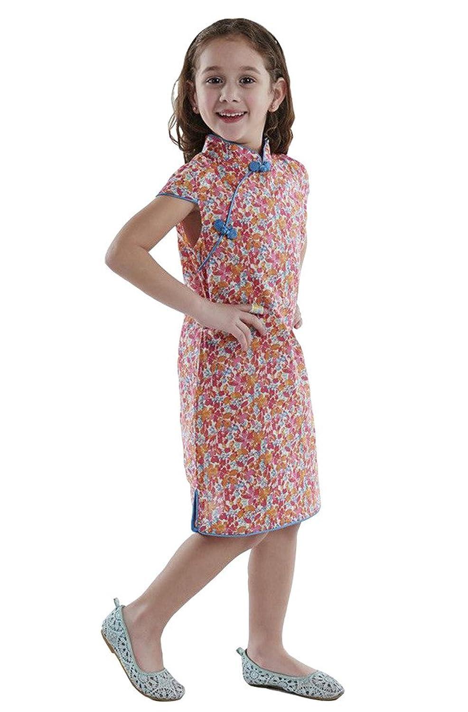 b90ec1f64788e 100% Artisanale Qipao Fille Robe Cheongsam Chinoise Mode Enfant en Coton   112