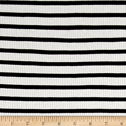 (Lavitex Rib Knit Stripe Ivory/Black Fabric by The Yard)