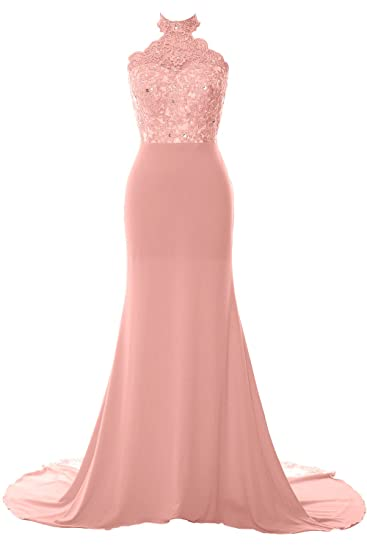 a937f12d5b2 MACloth Women Mermaid Halter Lace Jersey Long Prom Dress Formal Evening Gown:  Amazon.co.uk: Clothing
