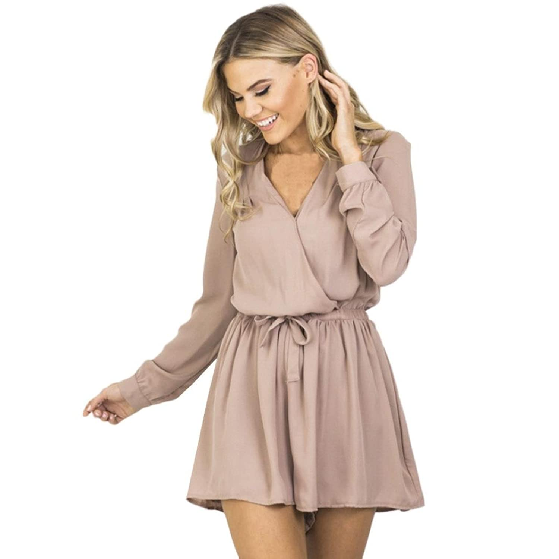 30eb4d1bbc Damen V-Ausschnitt Langarm Chiffon Playsuit Jumpsuit Shirt Tops Bluse  Sommer Hemden Strandbluse Tank Reizvolle