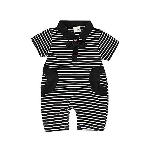 9f13399eb74c Amazon.com  Oldeagle Infant Baby Boys Short Sleeve Gentleman Bow Tie Striped  Print Romper Jumpsuit with Pocket Outfits  Clothing