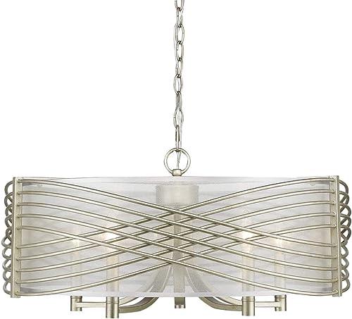 Golden Lighting 5516-5 WG-SHR Zara Chandelier, White Gold