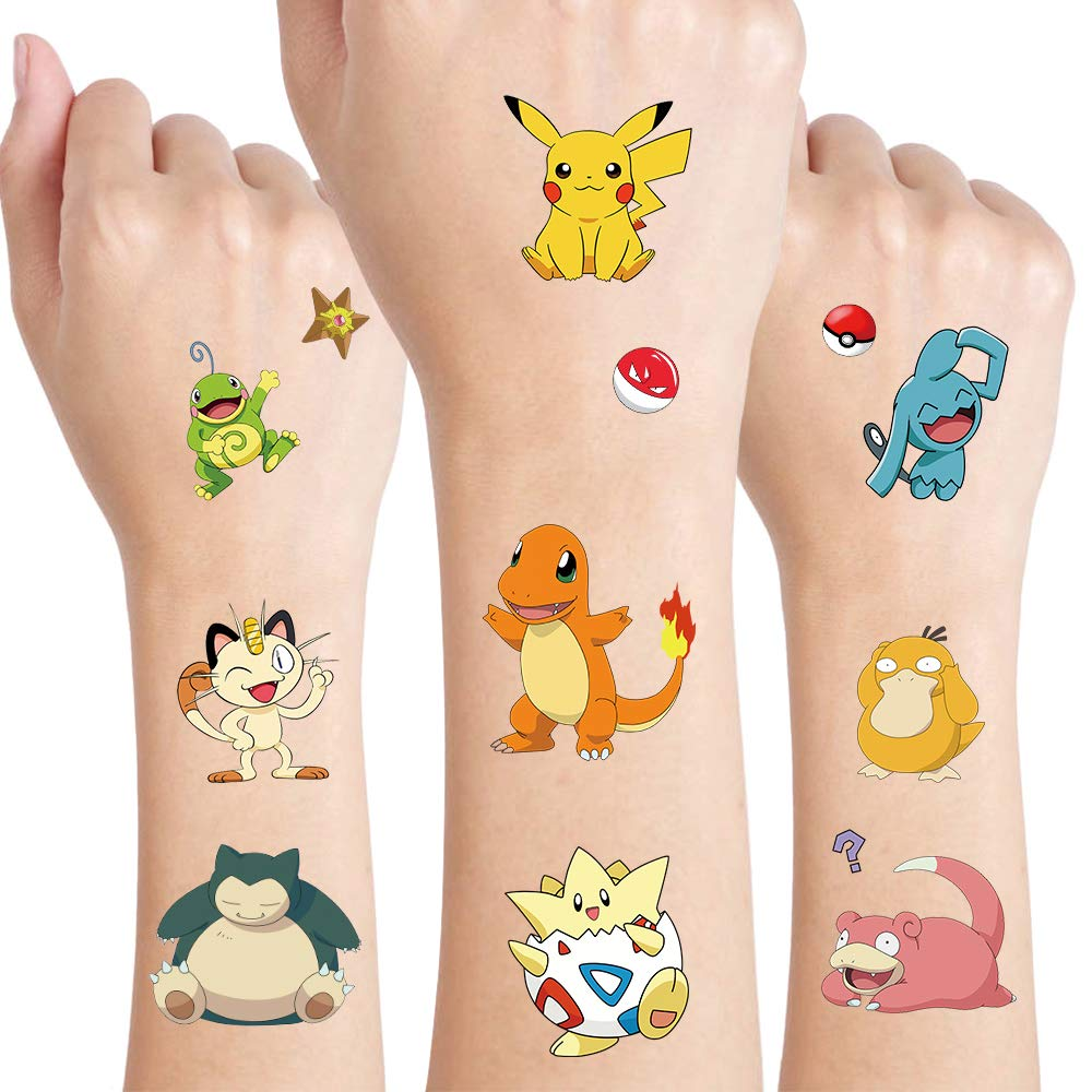 Pikachu Temporary Tattoos for Kids, Party Supplies Favors Fake Tattoos Art Craft for kids Boys Girls, School Rewards, Kids Birthday Gifts Water Bottle Decor