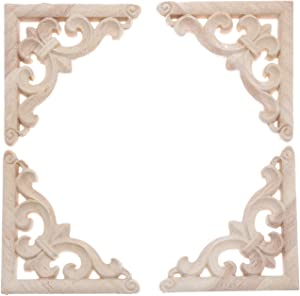 MUXSAM 4Pcs Wood Carved Appliques Onlays Embellishments for Furniture, 4 3/4