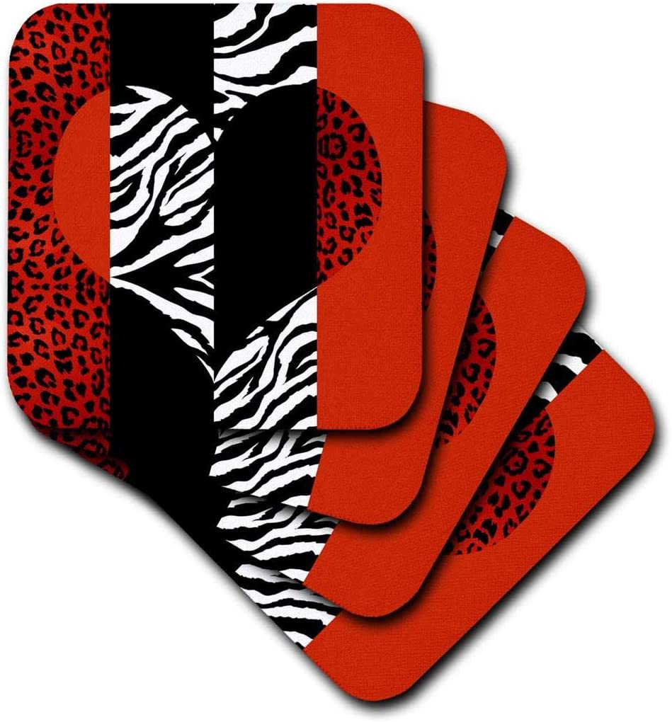 3dRose CST_35439_2 Red, Black, Orange & White Animal Print Leopard & Zebra Heart Soft Coasters, (Set of 8)