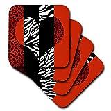 3dRose CST_35439_2 Red, Black, Orange & White