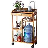 Tea rack tea table corner table water table small coffee table movable tea cabinet (Color : Brown)