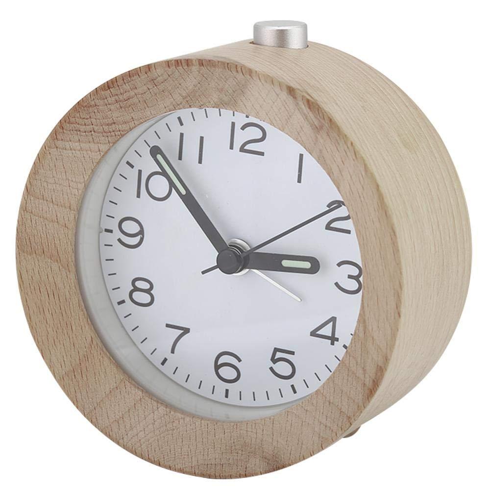 Zerone Chevet R/éveil Veilleuse Bureau Silencieux Petit Horloge en Bois Rond Classique R/éveil avec Fonction Snooze pour La Maison Chambre Bureau