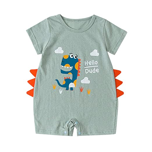 afd29acdeb60 Amazon.com  Baby Summer Cartoon Shirt Romper - GorNorriss Baby Dinosaur  Cartoon Infant Summer Outfits Clothes  Clothing