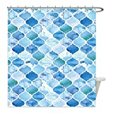 Liguo88 Custom Waterproof Bathroom Shower Curtain Polyester Moroccan Oriental Arabic Mosaic Pattern in Watercolor Paint Retro Style Islamic Artwork Light Blue Decorative bathroom