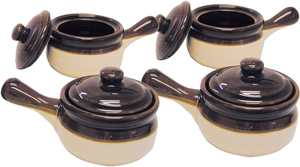 Set of 4 Gibson 15oz. Handled Ceramic Glazed French Onion Soup Bowls Casserole Crocks with Lids