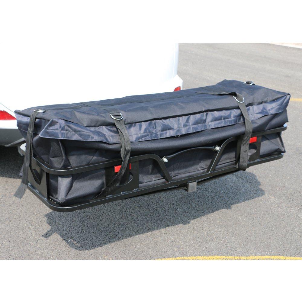 QJR Waterproof Oxford Fabric Cargo Carrier Bag Hitch Racks Black, 57'' x 20'' x 16''