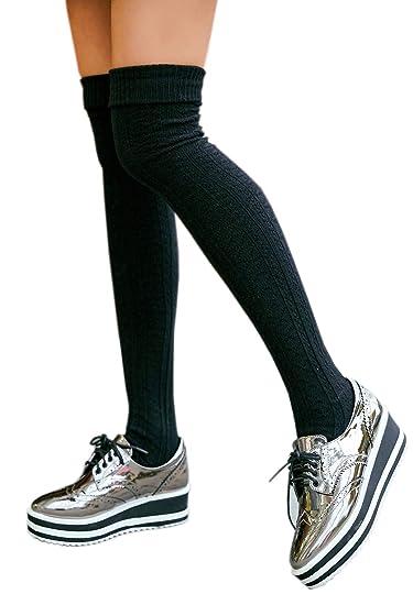 5e9611f61 AnVei-Nao Womens Girls Winter Over Knee Leg Warmer Knit Crochet Socks  Leggings Black