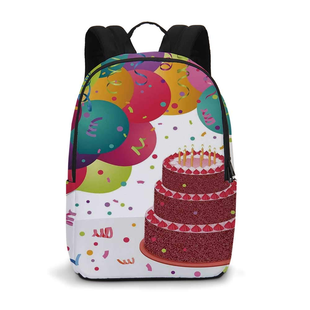 Birthday Decorations Modern simple Backpack,Strawberry Triplex Cake Candles Ribbons Balloons Newborn Celebration for school,11.8''L x 5.5''W x 18.1''H