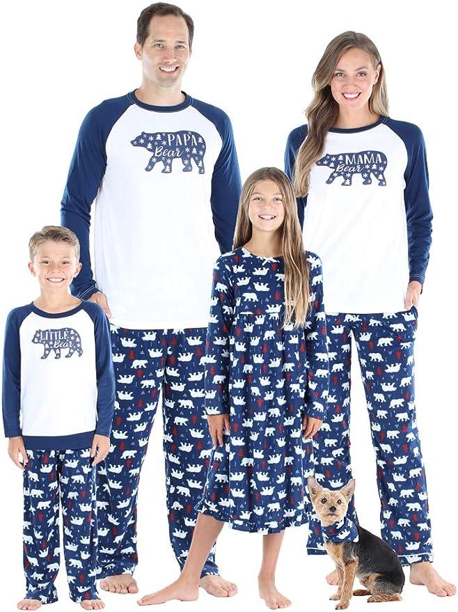 SleepytimePjs Holiday Family Matching Fleece Deer Plaid Pajama PJ Sets