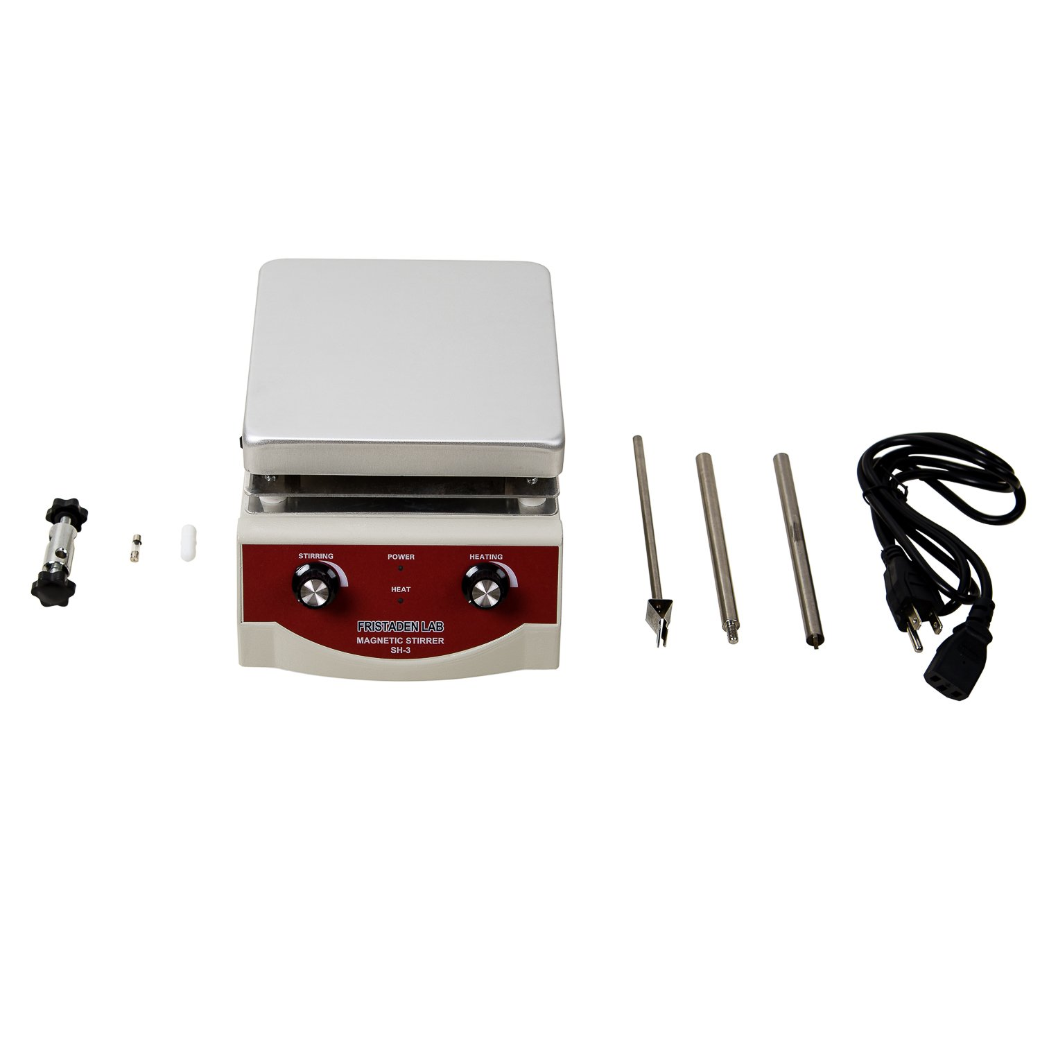 Fristaden Lab SH-3 Magnetic Stirrer Hot Plate, Stir Plate, Magnetic Mixer Dual Controls for Heating and Stirring 3,000mL, 100-1600rpm, 500W, 350°C by Fristaden Lab (Image #4)