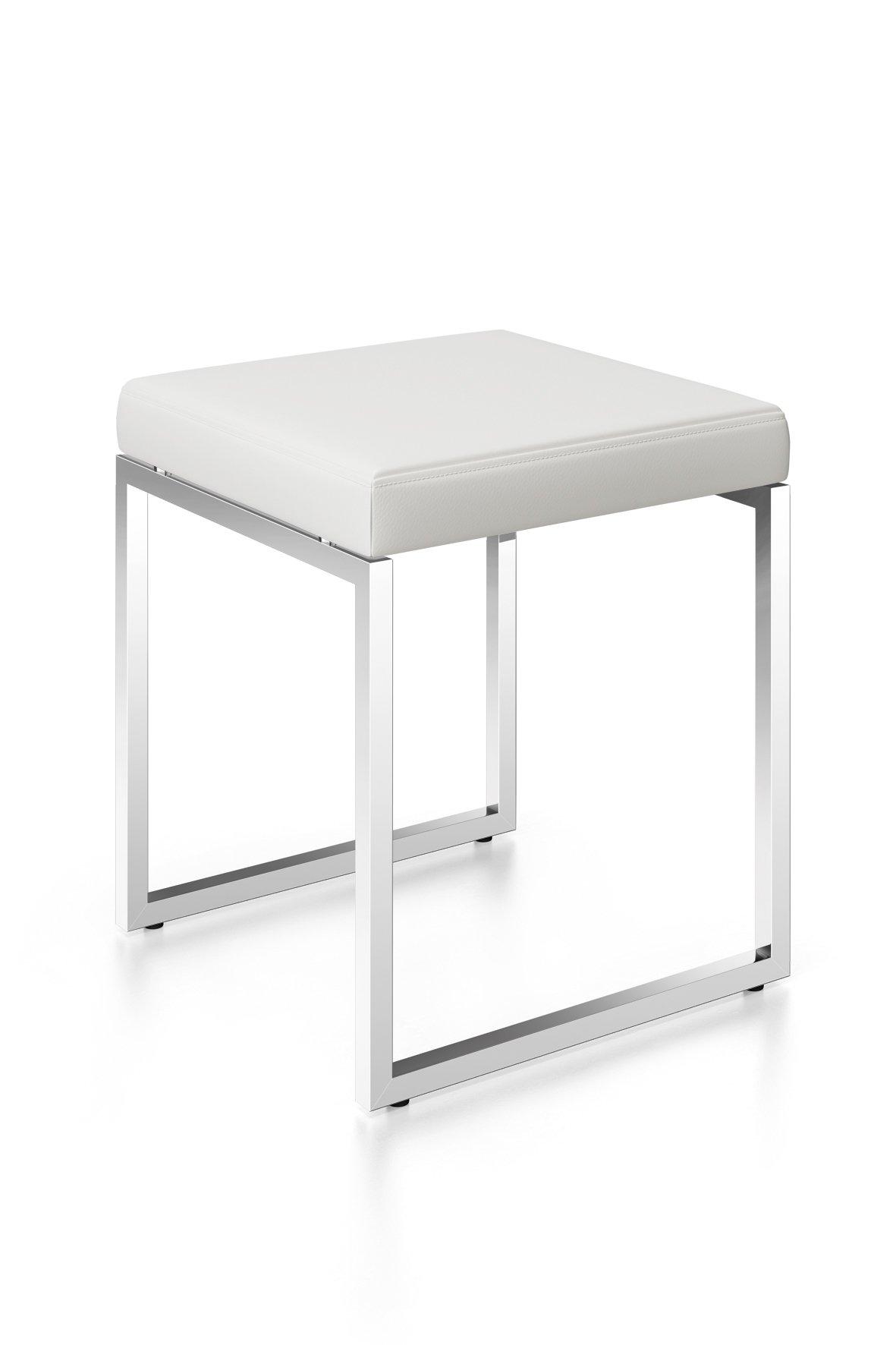 ZACK 40334 Original ''Cenius'' Stool White High Gloss Leather Seat, 17.9'' x 15.7''