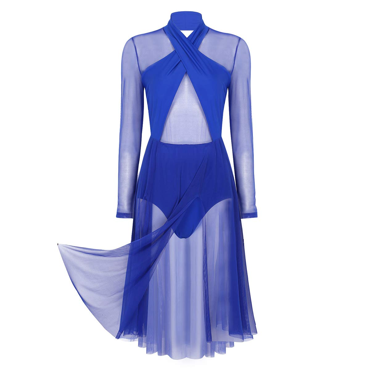inhzoy Womens Sheer Mesh See Through Lyrical Dance Costume Halter Neck Long Sleeves Leotard Dress