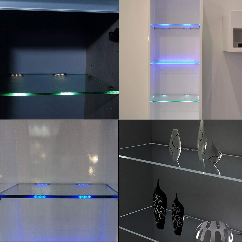 LED Glaskantenbeleuchtung mit RF-Fernbedienung RGB Farbwechsel LED Vitrinenbeleuchtung AIBOO LED Glasbodenbeleuchtung 4er Set