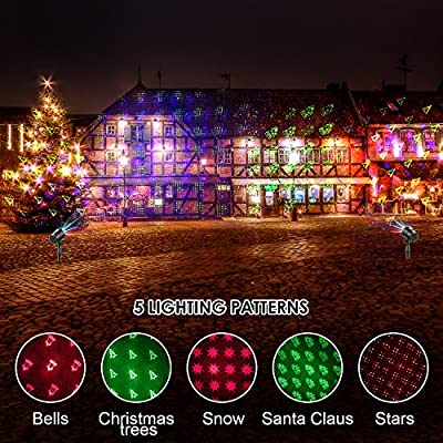 GameWill Laser Lights Projector With 19 Slides Pattern, Wireless Control Waterproof Red,Green,Blue Laser Christmas Lights for Christmas, Holiday, Parties, Landscape, and Garden Decoration