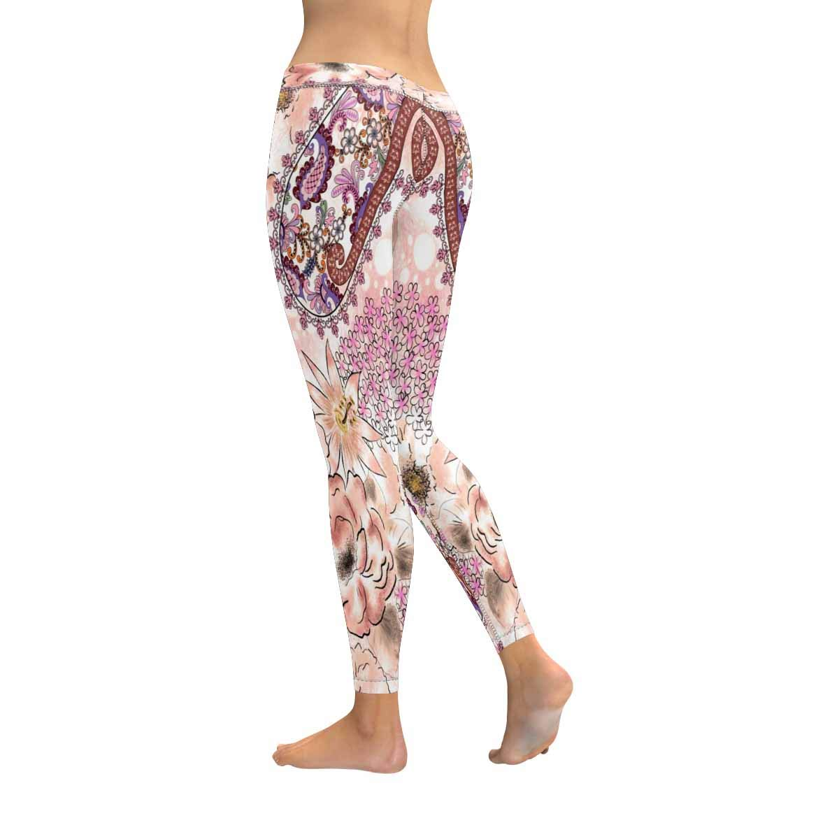 InterestPrint Womens Low Rise Leggings Small Pink Flowers Fashion Print Yoga Pants XXS-5XL