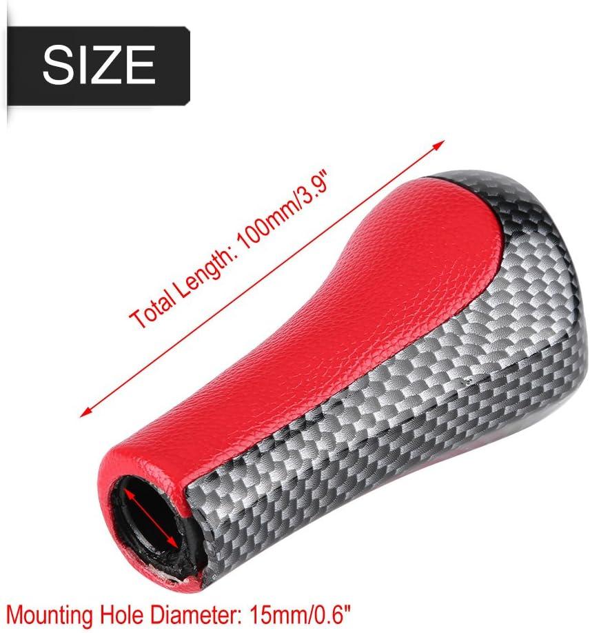 KIMISS Perilla de cambio de marchas,Cabeza de la perilla de la palanca de cambios de la velocidad de fibra de carbono roja 6 para X1 X3 X5 E60 E61 E65 E83 E84 E90 E92 Rojo