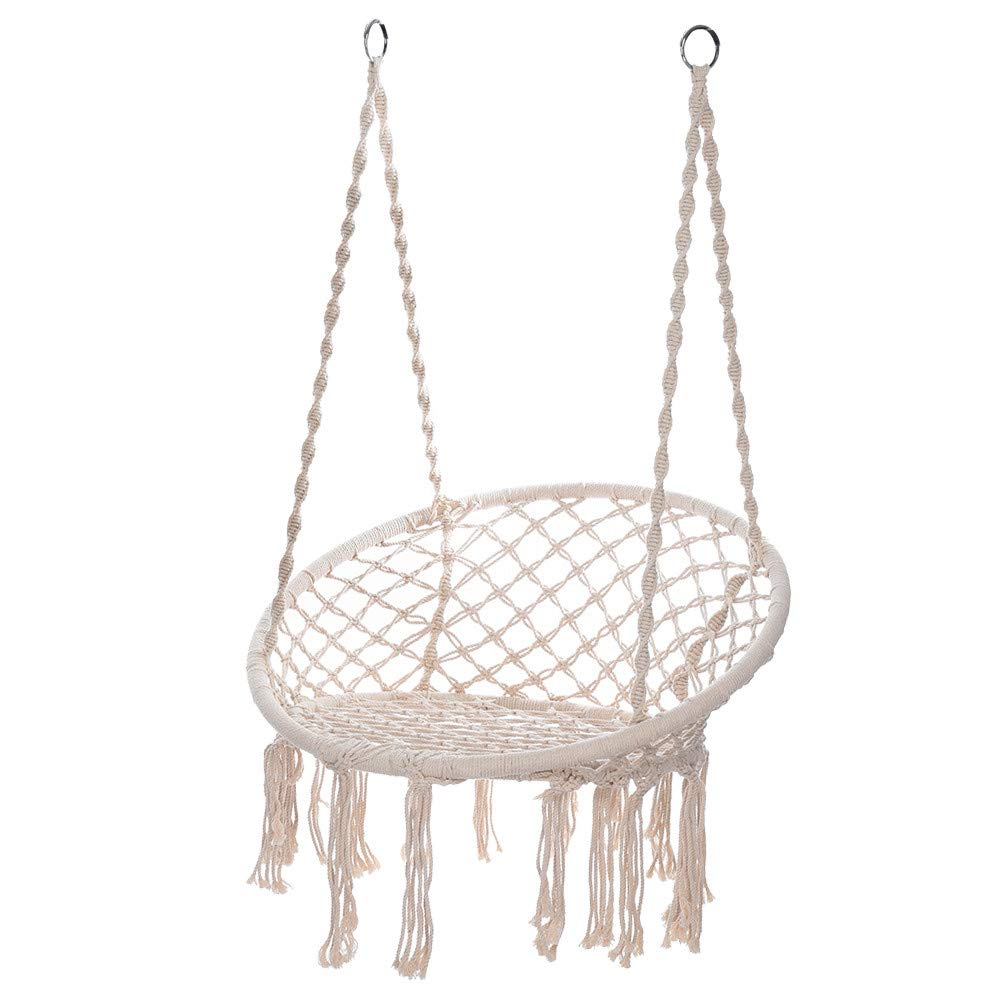 Hammock Chair - Macrame Swing 330 Pound Capacity Handmade Hanging Swing Chair Prefect for Indoor/Outdoor Home Patio Deck Yard Garden Reading Leisure (White) by Hunzed Home & Kitchen (Image #1)