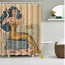 GWELL Vintage Mermaid Shower Curtain Polyester Fabric Waterproof Mildew resistant Bathroom Curtain with 12 Hooks (70.86X78.74-Inch, #2)