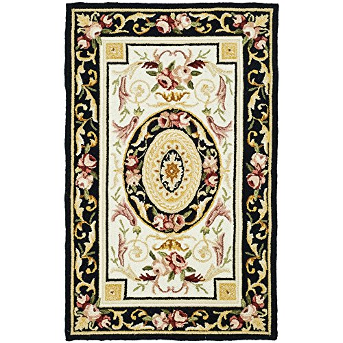 Safavieh Chelsea Collection HK72B Hand-Hooked Ivory and Black Premium Wool Area Rug (2'6