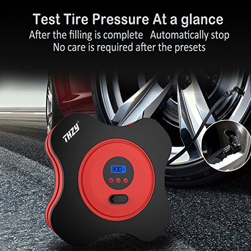 12V DC Air Pump THZY Electric Air Compressor Pump Auto Tire Inflator by 150PSI with Digital ...