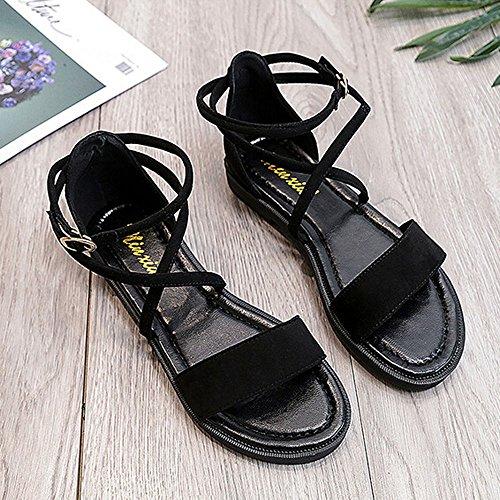SKY Comfortable to wear it !!! Mujer Sandalias planas cruzadas correas de cuero abierto dedo del pie hebilla sandalias de tacón bajo Negro