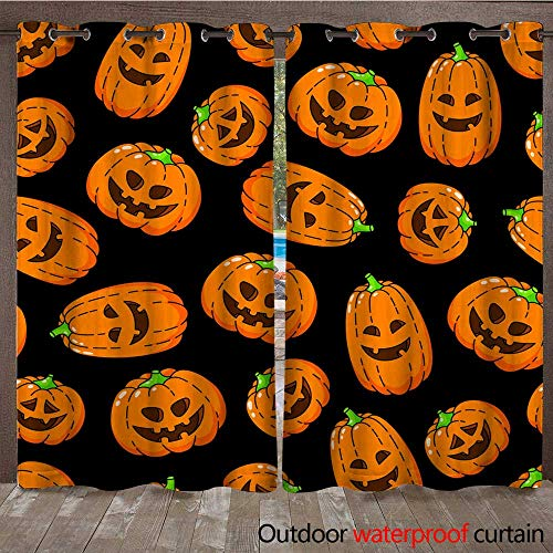 Outdoor Balcony Privacy Curtain Happy Halloween Seamless Background Wallpaper Template Vector Cartoon Doodle Icons Set W108 x -