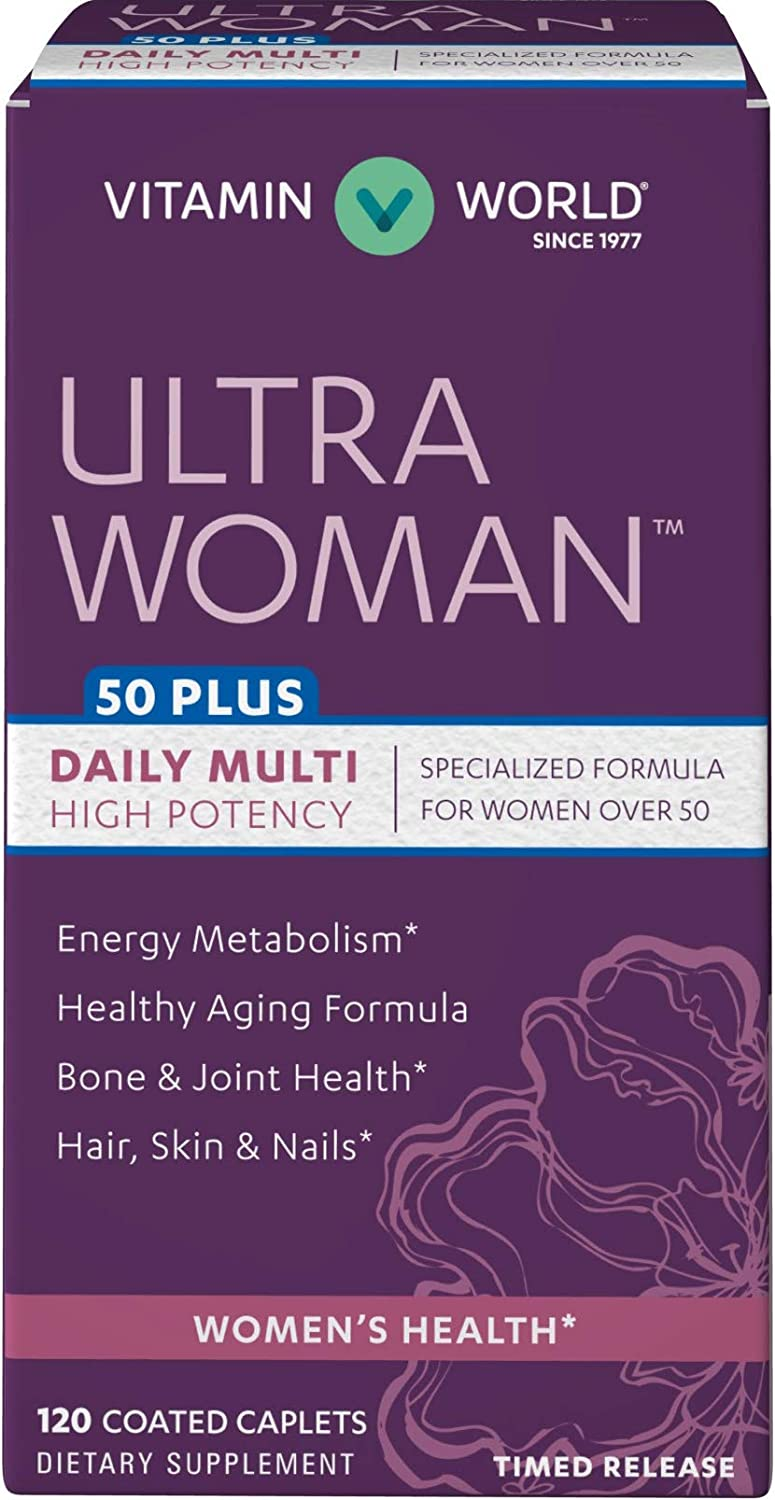 Vitamin World Ultra Woman 50 Plus Daily Multivitamin Feat. Biotin, Vitamins B, C, D, E, Calcium, Zinc, Selenium, Beta-Carotene Health Wellness Multi-Supplement for Women Over 50, 120 Caplets