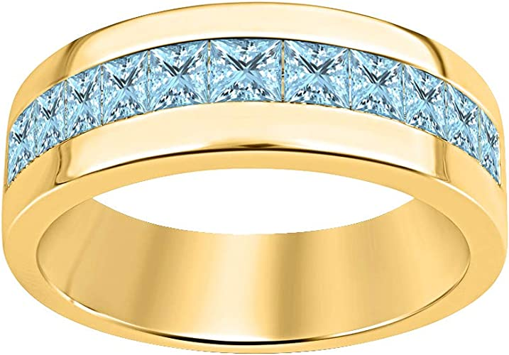 Dazzlingjewelrycollection 14k Yellow Gold Over 925 Sterling Silver Princess Cut Aquamarine Mens Wedding Band Ring Amazon Com