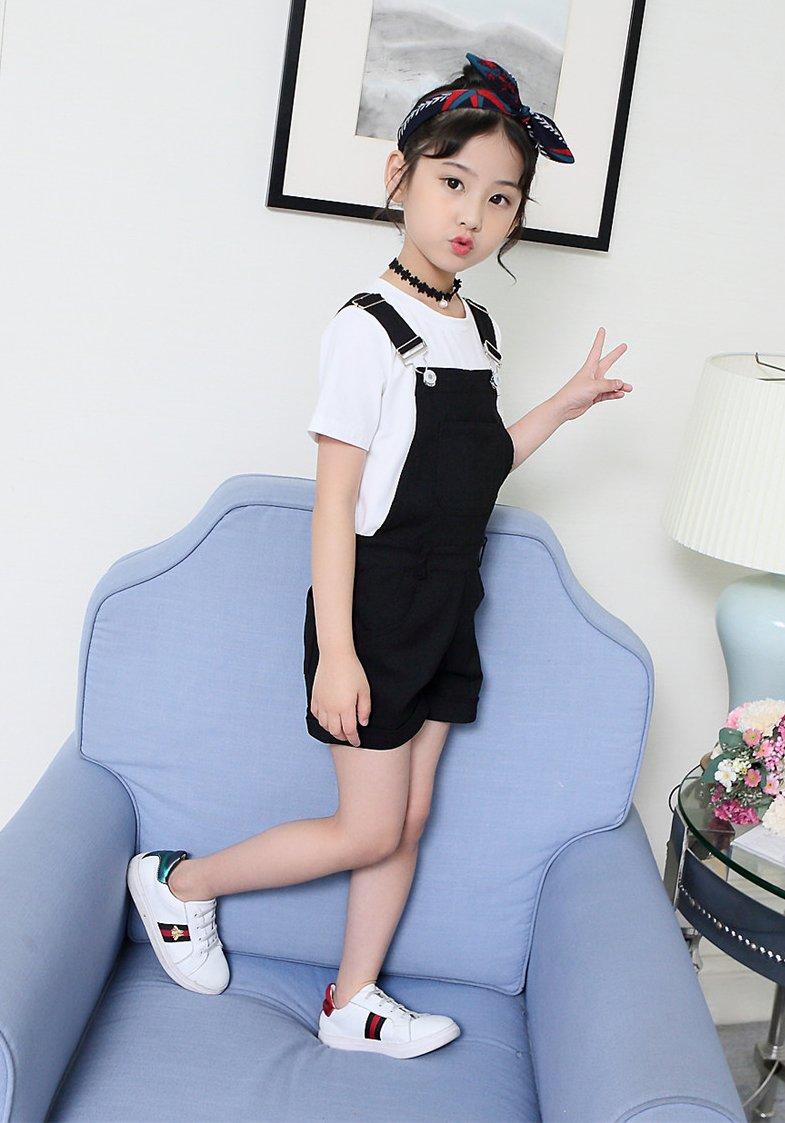 Sitmptol Big Girls Kids Cotton Overalls Jumpsuits Casual Shortalls Bib Romper Black 160 by Sitmptol (Image #5)