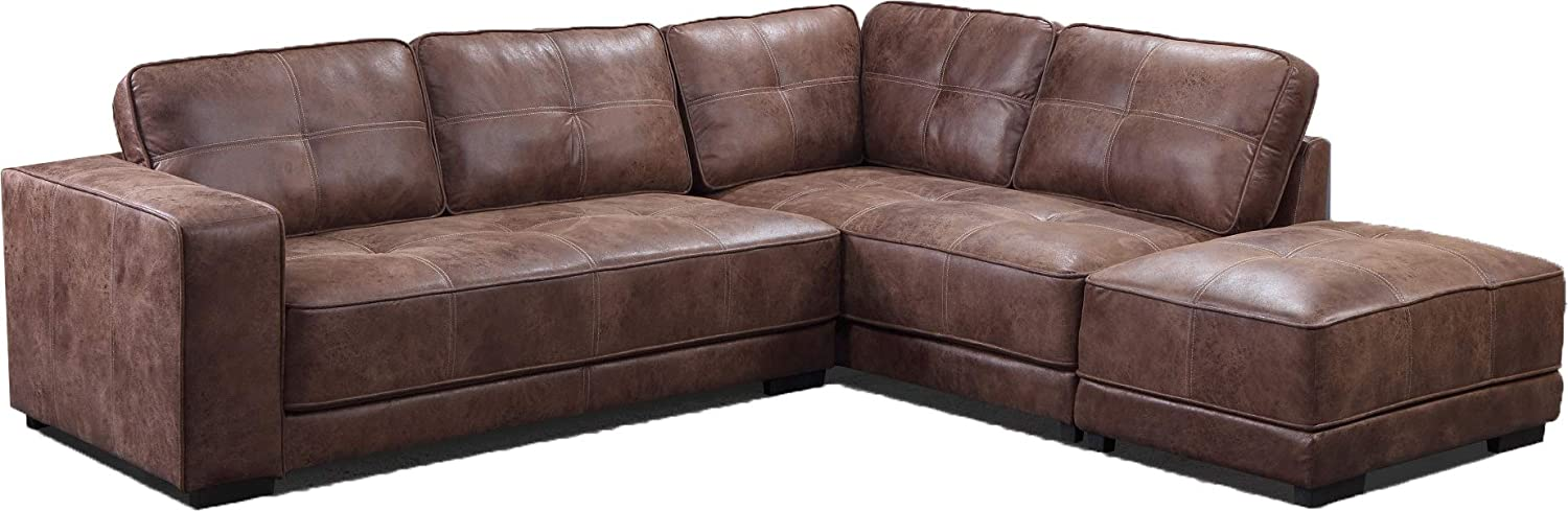 Brand New Carlton Bonded Leather Corner Sofa With Footstool (Right Hand  Facing, Tan)