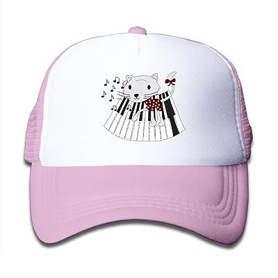 WLF Boys&Girls Piano Keys Cat Kids Adjustable Mesh Hat Trucker Cap