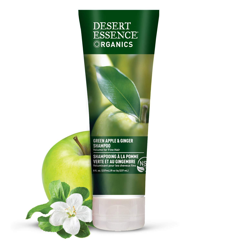 Desert Essence Green Apple & Ginger Shampoo - 8 Fl Ounce - Pack of 2 - Adds Volume, Strength & Shine - Moisturizer & Revitalizing - Coconut Oil -- Apple & Ginger Root Extract