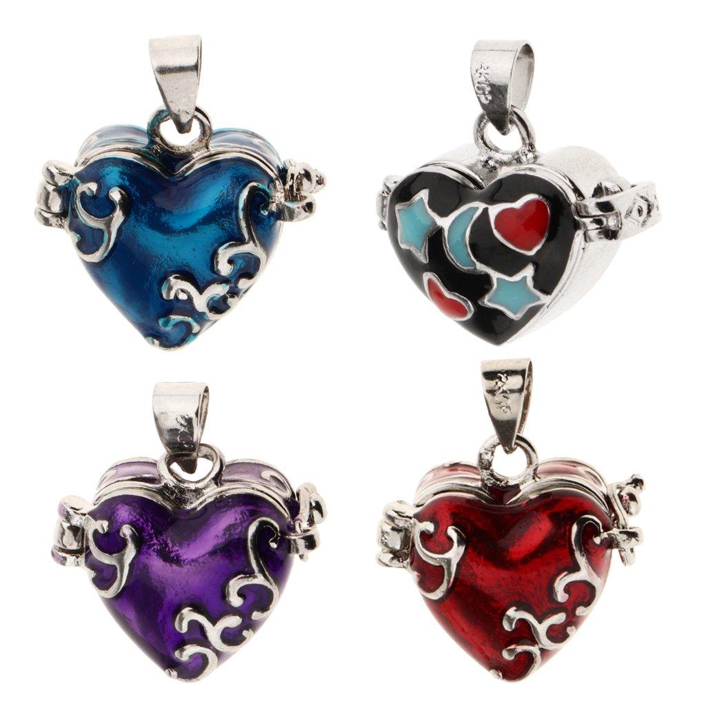 Homyl 4 Pieces Fancy Heart Enamel Cremation Urn for Pets Human Ash Jewelry Memorial Keepsake Pendant